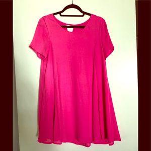 Hot pink summer shirt dress